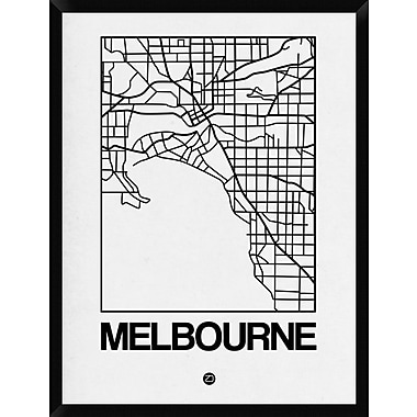 Naxart 'White Map of Melbourne' Framed Graphic Art Print on Canvas; 42'' H x 32'' W x 1.5'' D