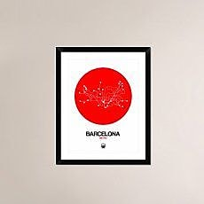 Naxart 'Barcelona Red Subway Map' Framed Graphic Art Print; 30'' H x 24'' W x 1.5'' D