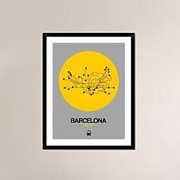 Naxart 'Barcelona Yellow Subway Map' Framed Graphic Art Print; 38'' H x 30'' W x 1.5'' D