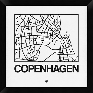 Naxart 'White Map of Copenhagen' Framed Graphic Art Print on Canvas; 20'' H x 20'' W x 1.5'' D