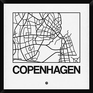 Naxart 'White Map of Copenhagen' Framed Graphic Art Print on Canvas; 32'' H x 32'' W x 1.5'' D