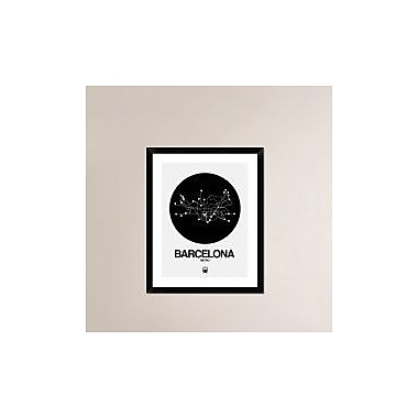 Naxart 'Barcelona Black Subway Map' Framed Graphic Art Print; 30'' H x 24'' W x 1.5'' D