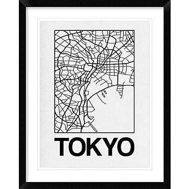 Naxart 'White Map of Tokyo' Framed Graphic Art Print; 22'' H x 18'' W x 1.5'' D