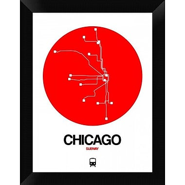 Naxart 'Chicago Red Subway Map' Framed Graphic Art Print on Canvas; 18'' H x 14'' W x 1.5'' D