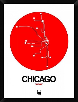 Naxart 'Chicago Red Subway Map' Framed Graphic Art Print on Canvas; 34'' H x 26'' W x 1.5'' D