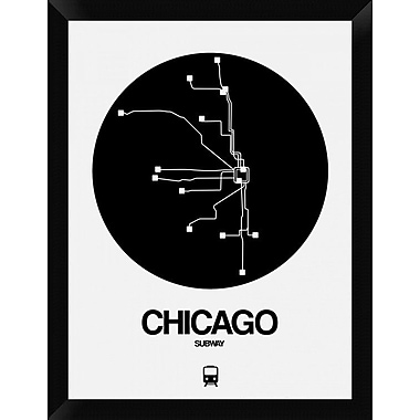 Naxart 'Chicago Black Subway Map' Framed Graphic Art Print on Canvas; 26'' H x 20'' W x 1.5'' D