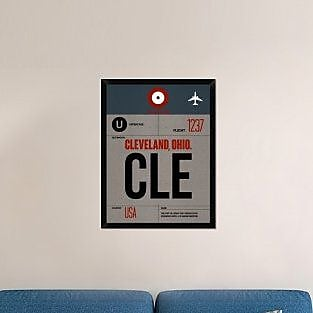 Naxart 'CLE Cleveland Luggage Tag I' Framed Graphic Art Print on Canvas; 34'' H x 26'' W x 1.5'' D