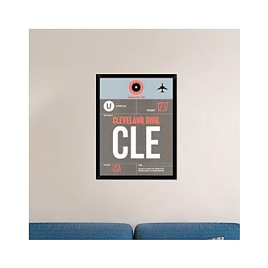 Naxart 'CLE Cleveland Luggage Tag II' Framed Graphic Art Print on Canvas; 34'' H x 26'' W x 1.5'' D