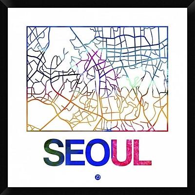 Naxart 'Seoul Watercolor Street Map' Framed Graphic Art Print on Canvas; 32'' H x 32'' W x 1.5'' D