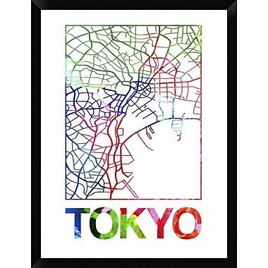 Naxart 'Tokyo Watercolor Street Map' Framed Graphic Art Print on Canvas; 34'' H x 26'' W x 1.5'' D