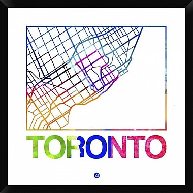 Naxart 'Toronto Watercolor Street Map' Framed Graphic Art Print on Canvas; 32'' H x 32'' W x 1.5'' D