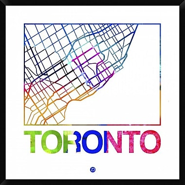 Naxart 'Toronto Watercolor Street Map' Framed Graphic Art Print on Canvas; 42'' H x 42'' W x 1.5'' D