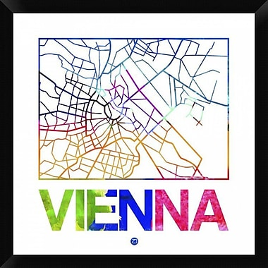 Naxart 'Vienna Watercolor Street Map' Framed Graphic Art Print on Canvas; 26'' H x 26'' W x 1.5'' D