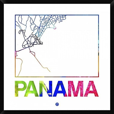Naxart 'Panama Watercolor Street Map' Framed Graphic Art Print on Canvas; 38'' H x 38'' W x 1.5'' D