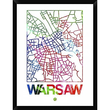 Naxart 'Warsaw Watercolor Street Map' Framed Graphic Art Print on Canvas; 34'' H x 26'' W x 1.5'' D