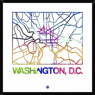 Naxart 'Washington D.C. Watercolor Street Map' Framed Graphic Art Print on Canvas