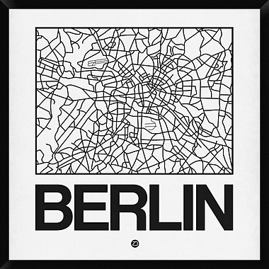 Naxart 'White Map of Berlin' Framed Graphic Art Print on Canvas; 38'' H x 38'' W x 1.5'' D
