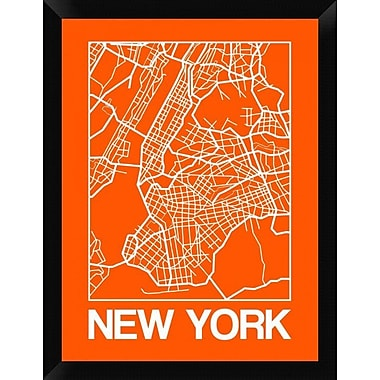 Naxart 'Orange Map of New York' Framed Graphic Art Print on Canvas; 26'' H x 20'' W x 1.5'' D