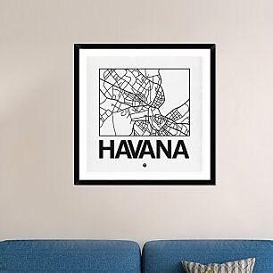 Naxart 'White Map of Havana' Framed Graphic Art Print; 36'' H x 36'' W x 1.5'' D