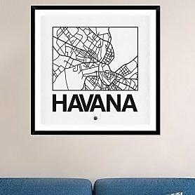 Naxart 'White Map of Havana' Framed Graphic Art Print; 42'' H x 42'' W x 1.5'' D
