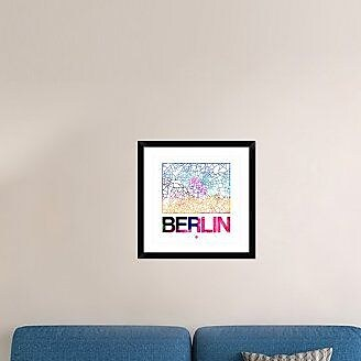 Naxart 'Berlin Watercolor Street Map' Framed Graphic Art Print; 24'' H x 24'' W x 1.5'' D