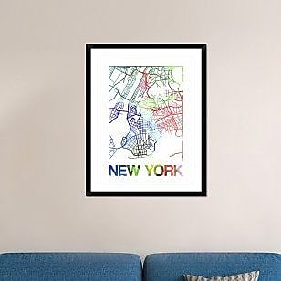 Naxart 'New York Watercolor Street Map' Framed Graphic Art Print; 38'' H x 30'' W x 1.5'' D