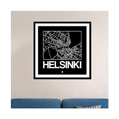 Naxart 'Black Map of Helsinki' Framed Graphic Art Print; 42'' H x 42'' W x 1.5'' D