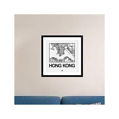 Naxart 'White Map of Hong Kong' Framed Graphic Art Print; 30'' H x 30'' W x 1.5'' D
