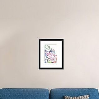 Naxart 'Buenos Aires Watercolor Street Map' Framed Graphic Art Print; 22'' H x 18'' W x 1.5'' D