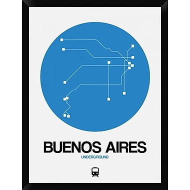 Naxart 'Buenos Aires Blue Subway Map' Framed Graphic Art Print on Canvas; 34'' H x 26'' W x 1.5'' D