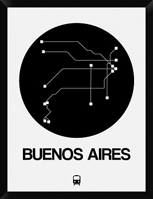 Naxart 'Buenos Aires Black Subway Map' Framed Graphic Art Print on Canvas; 34'' H x 26'' W x 1.5'' D