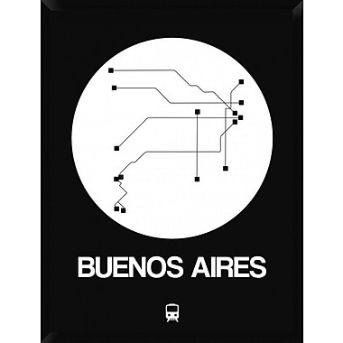 Naxart 'Buenos Aires White Subway Map' Framed Graphic Art Print on Canvas; 42'' H x 32'' W x 1.5'' D