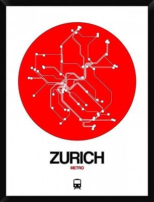 Naxart 'Zurich Red Subway Map' Framed Graphic Art Print on Canvas; 42'' H x 32'' W x 1.5'' D