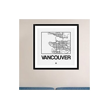 Naxart 'White Map of Vancouver' Framed Graphic Art Print; 36'' H x 36'' W x 1.5'' D