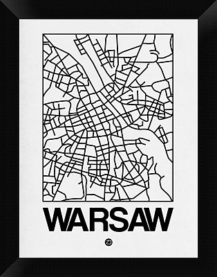 Naxart 'White Map of Warsaw' Framed Graphic Art Print on Canvas; 18'' H x 14'' W x 1.5'' D
