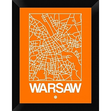 Naxart 'Orange Map of Warsaw' Framed Graphic Art Print on Canvas; 18'' H x 14'' W x 1.5'' D