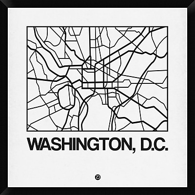 Naxart 'White Map of Washington, D.C.' Framed Graphic Art Print on Canvas; 32'' H x 32'' W x 1.5'' D