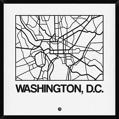 Naxart 'White Map of Washington, D.C.' Framed Graphic Art Print on Canvas; 42'' H x 42'' W x 1.5'' D