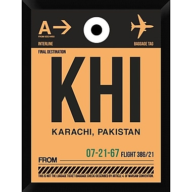 Naxart 'KHI Karachi Luggage Tag I' Framed Graphic Art Print on Canvas; 26'' H x 20'' W x 1.5'' D