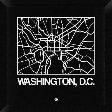 Naxart 'Black Map of Washington, D.C.' Framed Graphic Art Print on Canvas; 20'' H x 20'' W x 1.5'' D