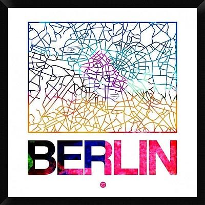 Naxart 'Berlin Watercolor Street Map' Framed Graphic Art Print on Canvas; 32'' H x 32'' W x 1.5'' D