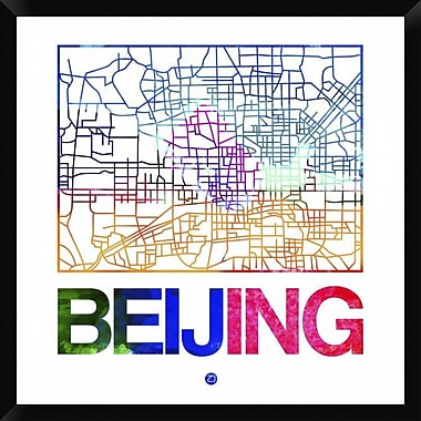 Naxart 'Beijing Watercolor Street Map' Framed Graphic Art Print on Canvas; 32'' H x 32'' W x 1.5'' D