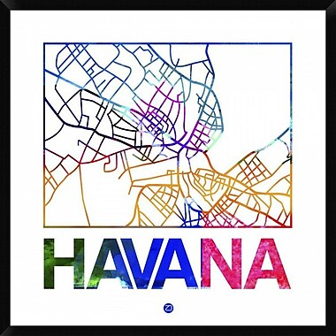 Naxart 'Havana Watercolor Street Map' Framed Graphic Art Print on Canvas; 42'' H x 42'' W x 1.5'' D