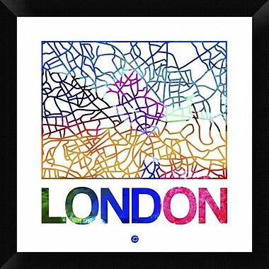 Naxart 'London Watercolor Street Map' Framed Graphic Art Print on Canvas; 20'' H x 20'' W x 1.5'' D