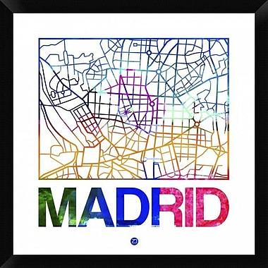 Naxart 'Madrid Watercolor Street Map' Framed Graphic Art Print on Canvas; 26'' H x 26'' W x 1.5'' D