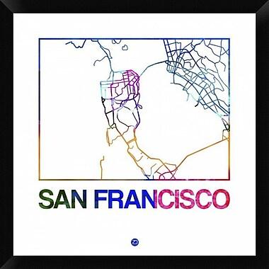 Naxart 'San Francisco Watercolor Street Map' Framed Graphic Art Print on Canvas