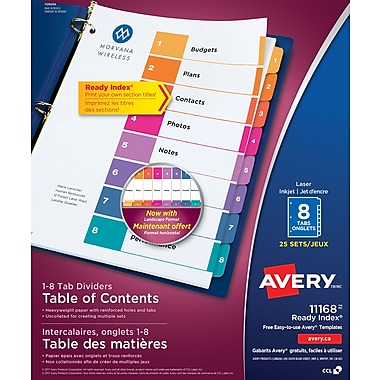 Avery® Ready Index® Table of Contents, 8-Tab Dividers, 25 Sets/Pack