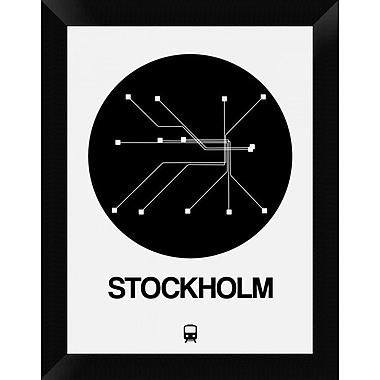 Naxart 'Stockholm Black Subway Map' Framed Graphic Art Print on Canvas; 18'' H x 14'' W x 1.5'' D