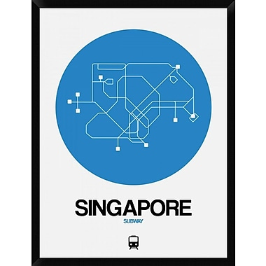Naxart 'Singapore Blue Subway Map' Framed Graphic Art Print on Canvas; 42'' H x 32'' W x 1.5'' D