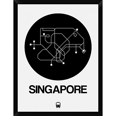 Naxart 'Singapore Black Subway Map' Framed Graphic Art Print on Canvas; 34'' H x 26'' W x 1.5'' D